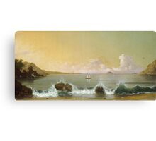 Martin Johnson Heade - Rio De Janeiro Bay. Seashore landscape: sea view, yachts, holiday, sailing boat, coast seaside, waves and beach, marine, seascape, sun and clouds, nautical panorama, ocean Canvas Print