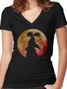 Kenshin into the Dark Women's Fitted V-Neck T-Shirt