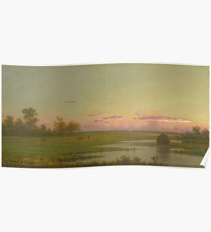 Martin Johnson Heade - Salt Marsh At Southport, Connecticut 1862. Field landscape: field landscape, nature, village, garden, flowers, trees, sun, rustic, countryside, sky and clouds, summer Poster