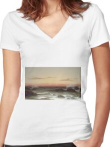Martin Johnson Heade - Seascape Sunset. Sea landscape: sea view, naval yachts, navy holiday, sailing boat, coast seaside, waves and beach, marin, seascape, sun clouds, nautical panorama, ocean Women's Fitted V-Neck T-Shirt