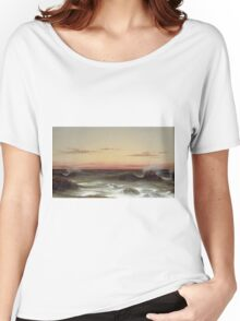 Martin Johnson Heade - Seascape Sunset. Sea landscape: sea view, naval yachts, navy holiday, sailing boat, coast seaside, waves and beach, marin, seascape, sun clouds, nautical panorama, ocean Women's Relaxed Fit T-Shirt