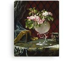 Martin Johnson Heade - Still Life With Apple Blossoms In A Nautilus Shell. Still life with flowers: Apple Blossoms, natural pearls, orchid,  lotus blossom, wonderful flower,  passion garden, magnolias Canvas Print