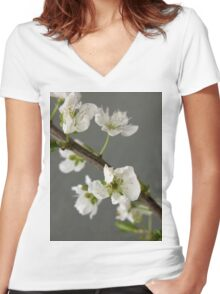 beautiful spring  flower Women's Fitted V-Neck T-Shirt