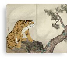 Maruyama okyo - Tiger. portrait Tiger: tiger on the tree, tree, striped, nature, strong, beast, animal, predator, mountain,  mountain tree, fly Canvas Print