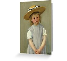 Mary Cassatt - Child In A Straw Hat. Girl portrait: cute girl, girly, hat, pretty angel, child, beautiful dress, headdress, smile, little, kids, baby Greeting Card