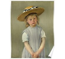 Mary Cassatt - Child In A Straw Hat. Girl portrait: cute girl, girly, hat, pretty angel, child, beautiful dress, headdress, smile, little, kids, baby Poster