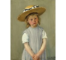 Mary Cassatt - Child In A Straw Hat. Girl portrait: cute girl, girly, hat, pretty angel, child, beautiful dress, headdress, smile, little, kids, baby Photographic Print
