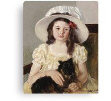 Mary Cassatt - Francoise Holding A Little Black Dog. Girl portrait: cute girl, girly, hat, pretty angel, child, beautiful dress, headdress, smile, little, dog, baby Canvas Print
