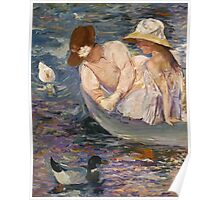 Mary Cassatt - Summertime. Mother with kid portrait: cute girl, mother and daughter, lake, boat, ducks, beautiful dress, lovely family, mothers day, memory, mom mum mammy mam, baby Poster