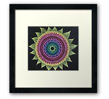 Rainbow Sun Mandala Framed Print