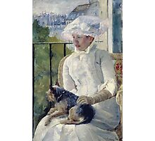 Mary Cassatt - Young Girl At A Window. Girl portrait: Young Girl, girly, female, white dress, headdress, beautiful dress, face with hairs, smile, dog, Window, view Photographic Print