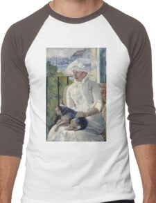 Mary Cassatt - Young Girl At A Window. Girl portrait: Young Girl, girly, female, white dress, headdress, beautiful dress, face with hairs, smile, dog, Window, view Men's Baseball ¾ T-Shirt