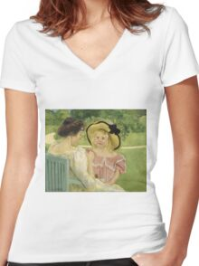 Mary Cassatt - In The Garden. Mother with kid portrait: cute girl, mother and daughter,  Garden, girly, headdress, beautiful dress, lovely family, mothers day, memory, mom mum mam, face with hairs Women's Fitted V-Neck T-Shirt
