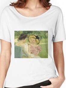Mary Cassatt - In The Garden. Mother with kid portrait: cute girl, mother and daughter,  Garden, girly, headdress, beautiful dress, lovely family, mothers day, memory, mom mum mam, face with hairs Women's Relaxed Fit T-Shirt