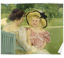 Mary Cassatt - In The Garden. Mother with kid portrait: cute girl, mother and daughter,  Garden, girly, headdress, beautiful dress, lovely family, mothers day, memory, mom mum mam, face with hairs Poster