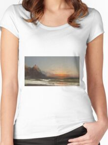 James Hamilton - Evening On The Seashore, 1867. Seashore landscape: sea view, Seashore, holiday, sunset, coast seaside, waves and beach, Evening , seascape, sun and clouds, mountain, ocean Women's Fitted Scoop T-Shirt