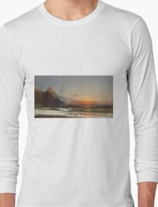 James Hamilton - Evening On The Seashore, 1867. Seashore landscape: sea view, Seashore, holiday, sunset, coast seaside, waves and beach, Evening , seascape, sun and clouds, mountain, ocean Long Sleeve T-Shirt