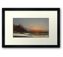 James Hamilton - Evening On The Seashore, 1867. Seashore landscape: sea view, Seashore, holiday, sunset, coast seaside, waves and beach, Evening , seascape, sun and clouds, mountain, ocean Framed Print