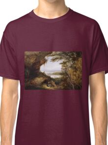 James Hamilton - Scene On The Hudson . Mountains landscape: mountains, rocks, rocky nature, sky and clouds, trees, peak, forest, rustic, hill, travel, hillside Classic T-Shirt