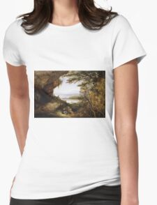 James Hamilton - Scene On The Hudson . Mountains landscape: mountains, rocks, rocky nature, sky and clouds, trees, peak, forest, rustic, hill, travel, hillside Womens Fitted T-Shirt