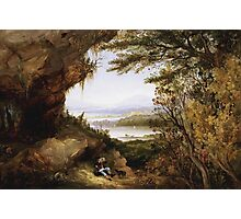James Hamilton - Scene On The Hudson . Mountains landscape: mountains, rocks, rocky nature, sky and clouds, trees, peak, forest, rustic, hill, travel, hillside Photographic Print