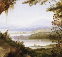 James Hamilton - Scene On The Hudson . Mountains landscape: mountains, rocks, rocky nature, sky and clouds, trees, peak, forest, rustic, hill, travel, hillside Sticker