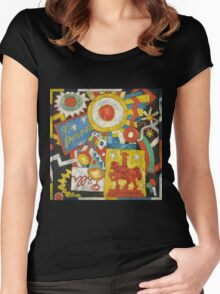 Marsden Hartley - Himmel. Abstract painting: abstract art, geometric, expressionism, composition, lines, forms, creative fusion, spot, shape, illusion, fantasy future Women's Fitted Scoop T-Shirt