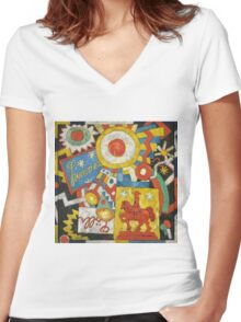 Marsden Hartley - Himmel. Abstract painting: abstract art, geometric, expressionism, composition, lines, forms, creative fusion, spot, shape, illusion, fantasy future Women's Fitted V-Neck T-Shirt