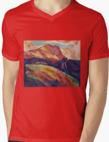 Marsden Hartley - Mont Sainte-Victoire. Mountains landscape: mountains, rocks, rocky nature, sky and clouds, trees, peak, forest, rustic, hill, travel, hillside Mens V-Neck T-Shirt