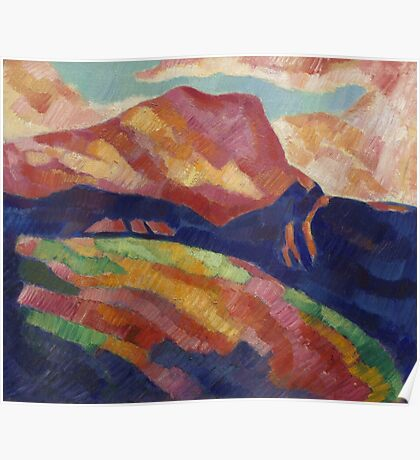 Marsden Hartley - Mont Sainte-Victoire. Mountains landscape: mountains, rocks, rocky nature, sky and clouds, trees, peak, forest, rustic, hill, travel, hillside Poster