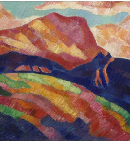 Marsden Hartley - Mont Sainte-Victoire. Mountains landscape: mountains, rocks, rocky nature, sky and clouds, trees, peak, forest, rustic, hill, travel, hillside Sticker