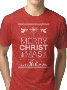 Ugly Christmas Sweater - Red - Merry Christ Mas - Religious Christian - Jesus Tri-blend T-Shirt