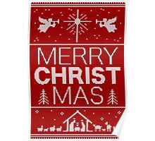 Ugly Christmas Sweater - Red - Merry Christ Mas - Religious Christian - Jesus Poster