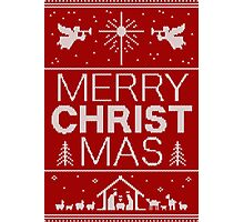 Ugly Christmas Sweater - Red - Merry Christ Mas - Religious Christian - Jesus Photographic Print