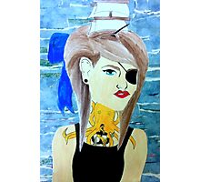girl with boat in her hair Photographic Print