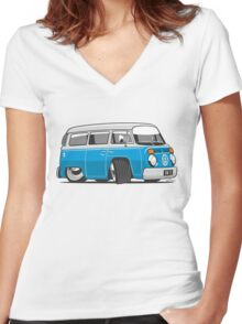 VW T2 Microbus cartoon blue Women's Fitted V-Neck T-Shirt