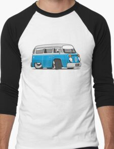 VW T2 Microbus cartoon blue Men's Baseball ¾ T-Shirt