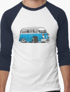 VW T2 Microbus cartoon blue Men's Baseball ¾ T-Shirt