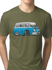 VW T2 Microbus cartoon blue Tri-blend T-Shirt