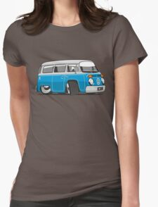 VW T2 Microbus cartoon blue Womens Fitted T-Shirt