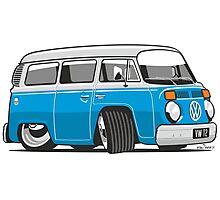 VW T2 Microbus cartoon blue Photographic Print