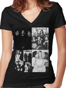 Friends Black&White Women's Fitted V-Neck T-Shirt