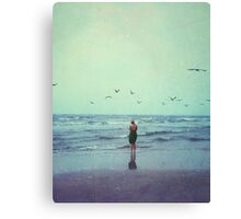 Woman at the Sea Shore Canvas Print