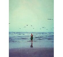 Woman at the Sea Shore Photographic Print