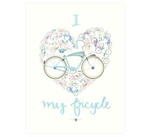 I Love my Bicycle Print Art Print
