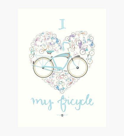 I Love my Bicycle Print Art Print