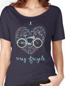 I Love my Bicycle Print Women's Relaxed Fit T-Shirt