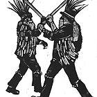 Morris Men linocut by Ieuan  Edwards