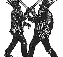 Morris Men linocut by Ieuan  Edwards
