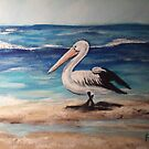PELICAN ON BEACH by Pamela Plante